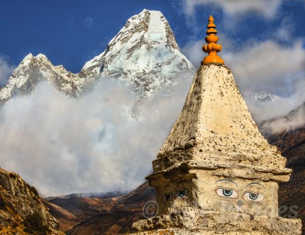 Stupa and Ama Dablam:  Khumbu, Nepal